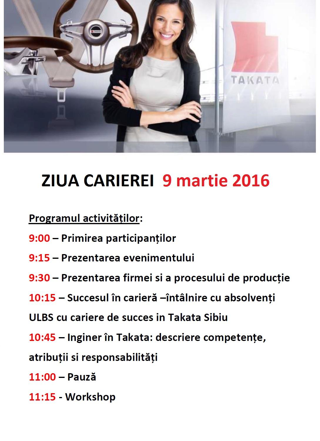 """TAKATA- """"Ziua Carierei"""" 9 Martie 2016-IM301"""