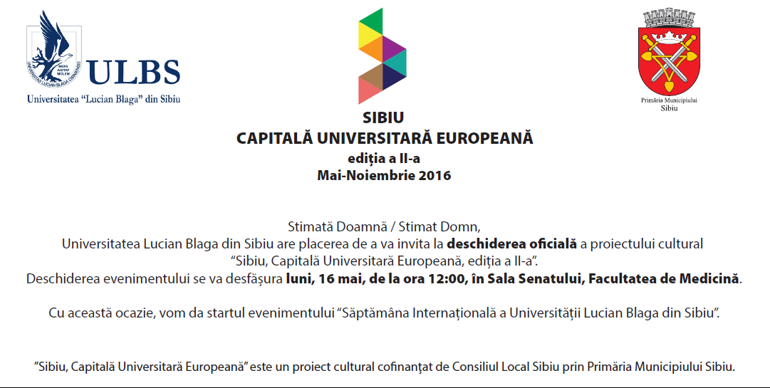 """""""Sibiu- Capitală Universitară Europeană"""""""", Ediția A II-a"""