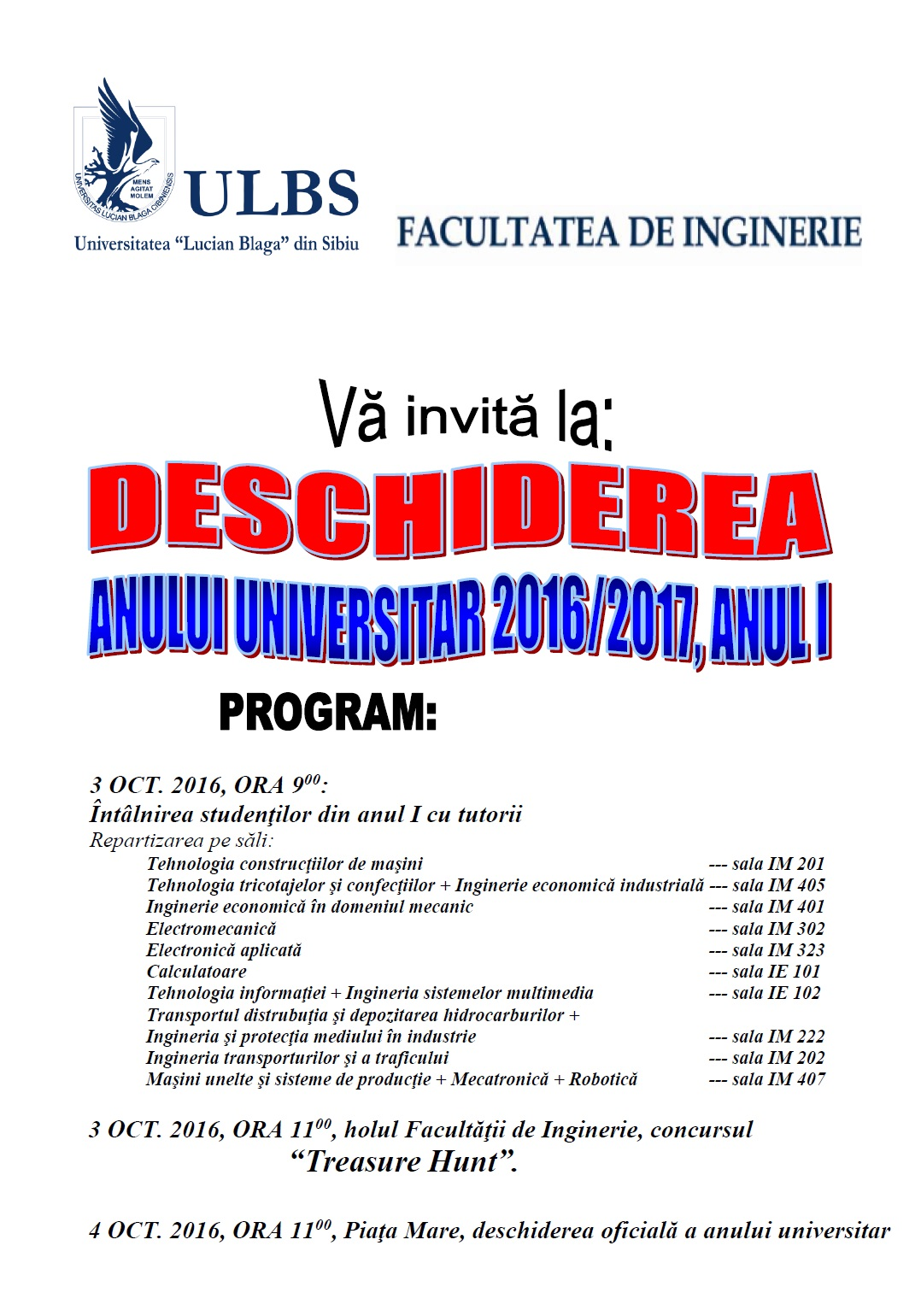 Deschidere An Universitar 2016-2017