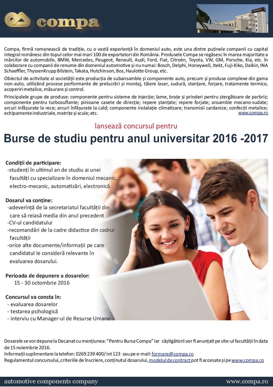 Burse De Studiu Compa Pentru Anul Universitar 2016 – 2017