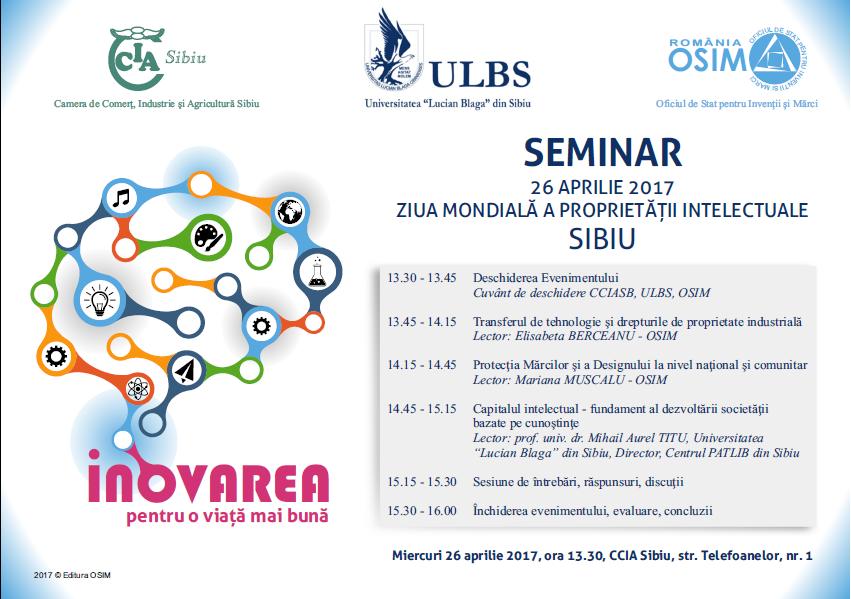 Ziua Mondială A Proprietății Intelectuale La Sibiu – 26 Aprilie 2017