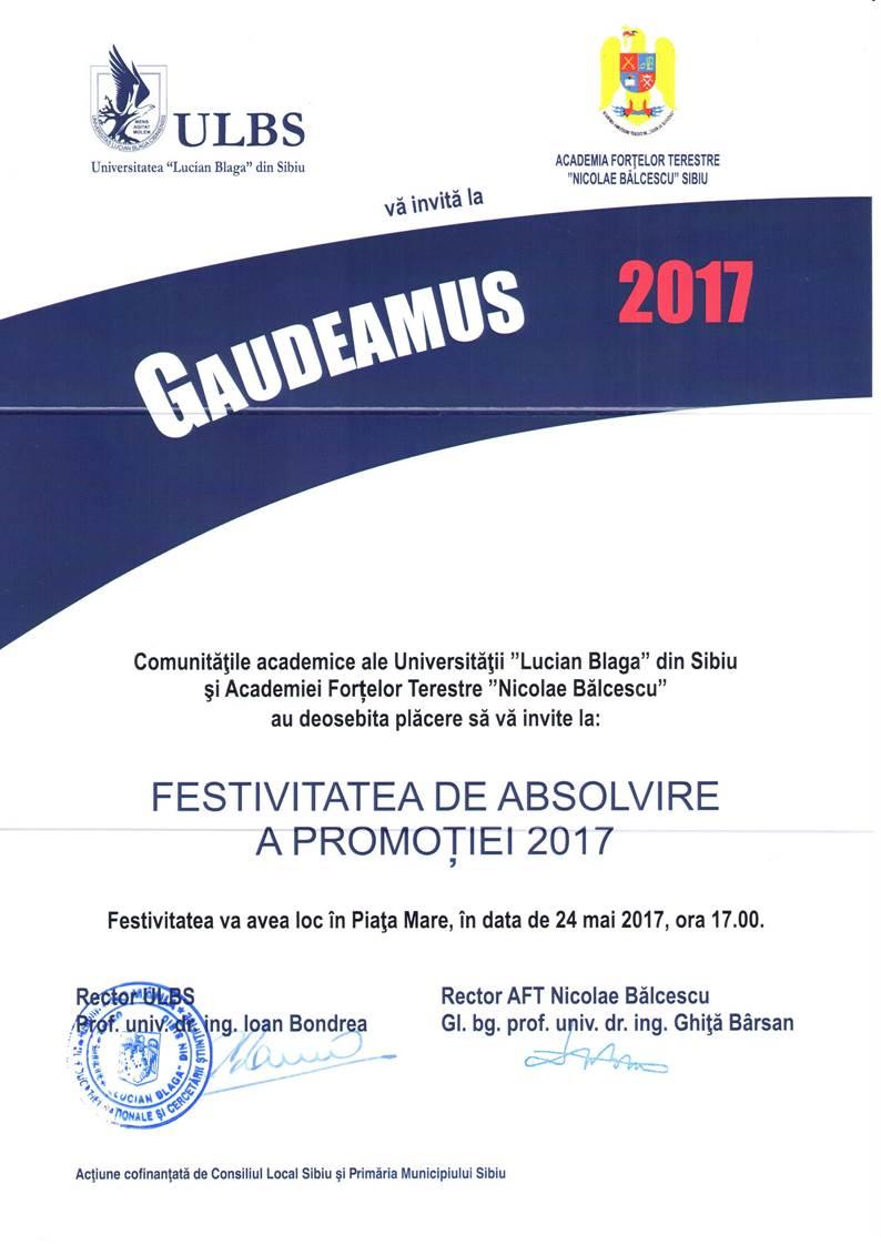 GAUDEAMUS – Festivitatea De Absolvire A Promoției 2017