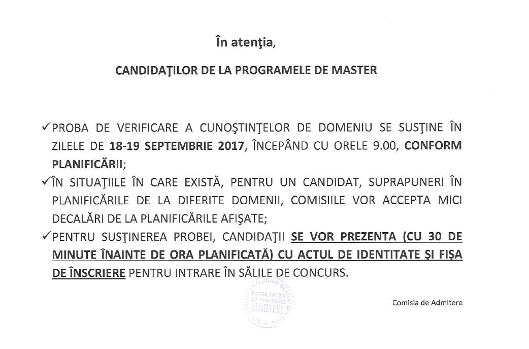 Anunț Candidați-proba Verificare A Cunoștințelor