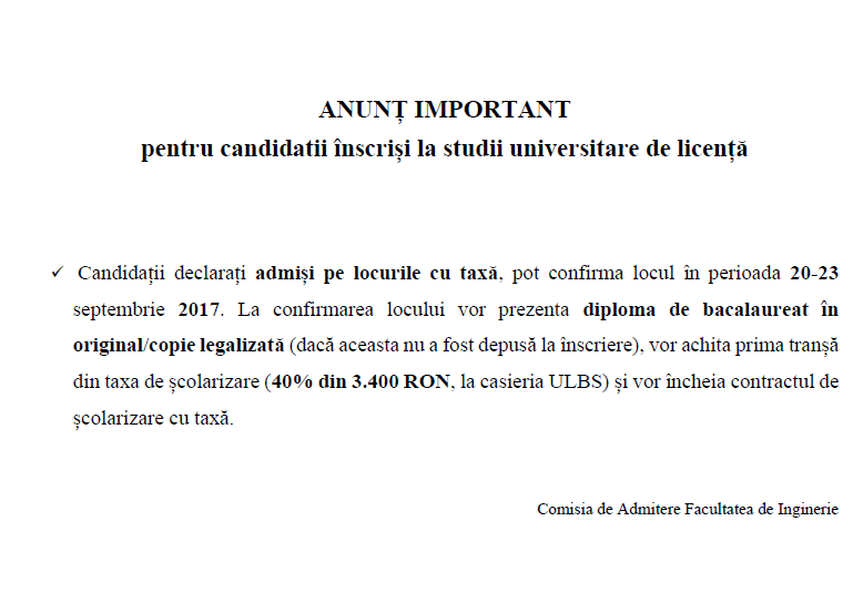 Anunt Important Confirmare Sept Licenta
