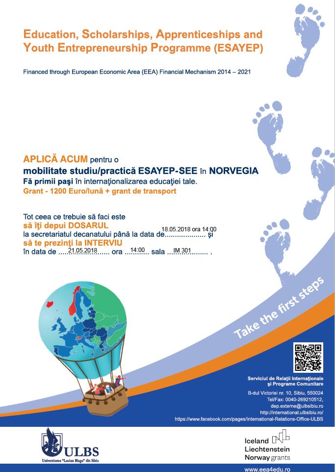 Selecție (cadre Didactice și Studenți) Pentru Granturile De Mobilităţi ESAYEP – SEE  Pentru Anul Universitar 2018 – 2019