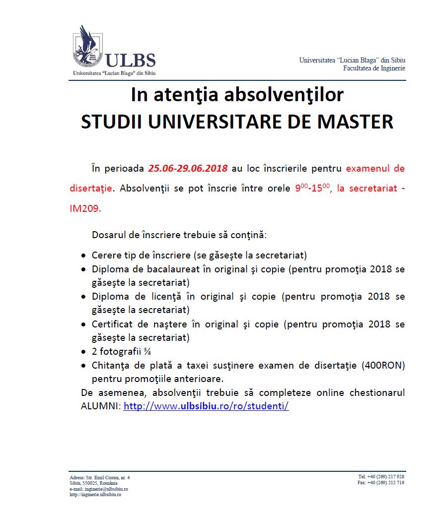 Inscriere Examen Disertatie