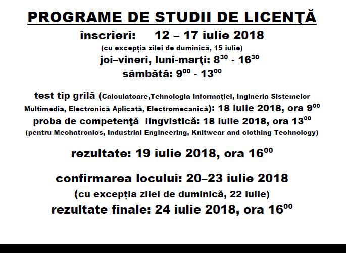 Calendar Admitere Licenta Iulie