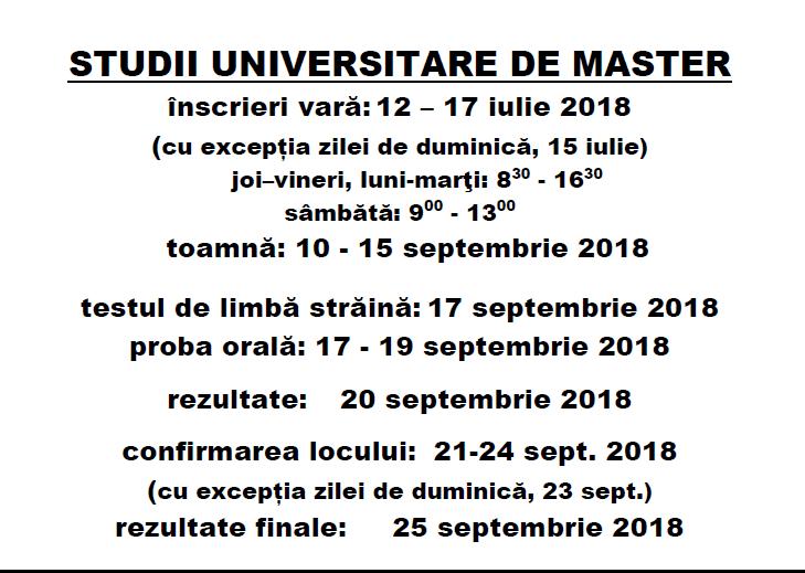 Calendar Admitere Master