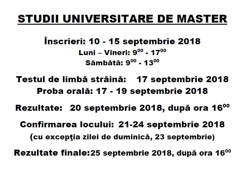 Calendar Admitere Master Septembrie 2018