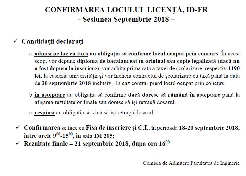 Anunț Confirmare Loc -licență – învățământ La Distanță