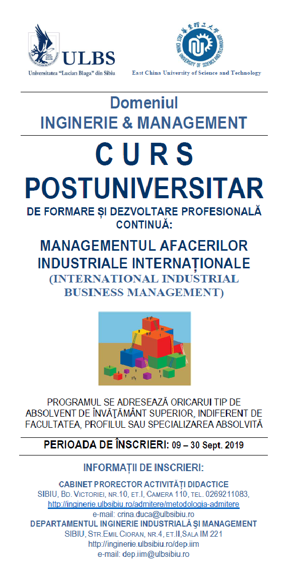 Curs Postuniversitar INTERNATIONAL INDUSTRIAL BUSINESS MANAGEMENT